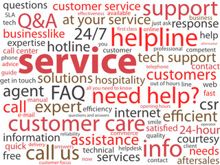 SERVICE Tag Cloud (customer support help hotline online button)