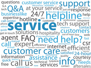 SERVICE Tag Cloud (customer support hotline client care button)