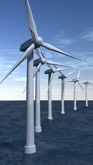 Offshore wind turbines in portrait composition