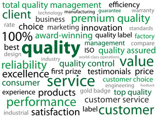 """QUALITY"" Tag Cloud (reliability total satisfaction guaranteed)"
