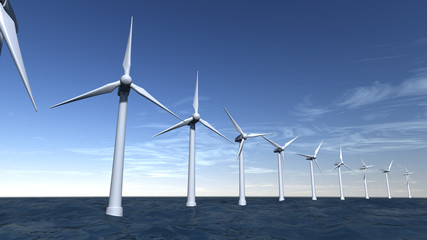 Seascape of offshore wind turbines