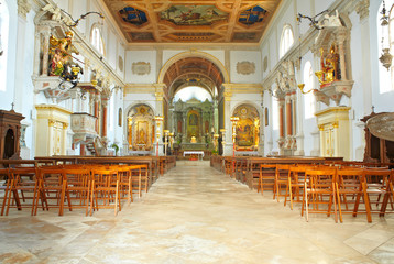 Interior of St. George church, Piran