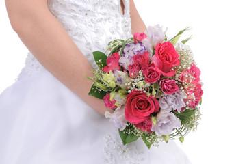 Bride Holding Colorful Bouquet