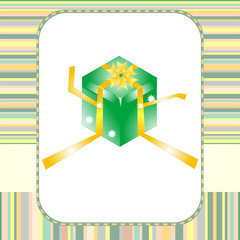 green gift box with yellow bow card vector