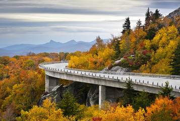 Blue Ridge Parkway Autumn Linn Cove Viaduct Fall Foliage