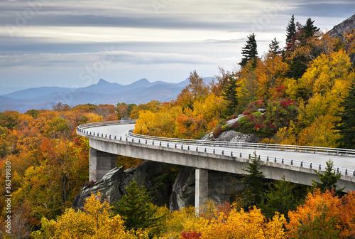 Blue Ridge Parkway Autumn Linn Cove Viaduct Fall Foliage