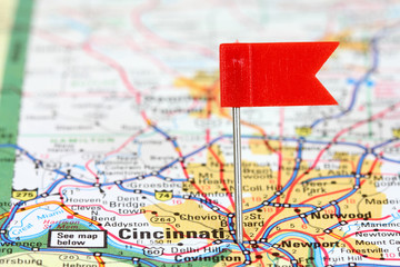 Cincinnati on a map