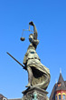 Statue of Lady Justice in front of the Romer in Frankfurt - Germ