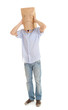 man with sad ecological paper bag on head, full length