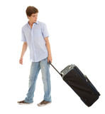 young man with suitcase, full length