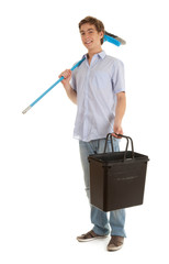 young man with sweep brush and black bucket