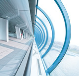 perspective airport interior in futuristic style poster
