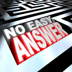 No Easy Answer Words in 3D Maze Problem to Solve Overcome