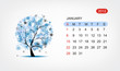 Vector calendar 2012, january. Art tree design