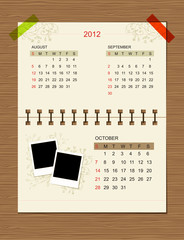 Vector calendar 2012, october.