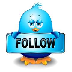 Uccello Passerotto Blu Social Network Blue Bird Follow-Vector