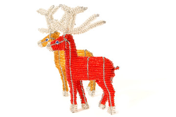 Red and gold Christmas reindeers