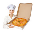 cook with  pizza. Isolated over white