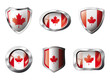 Canada set shiny buttons and shields of flag with metal frame -