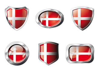 Denmark set shiny buttons and shields of flag with metal frame -