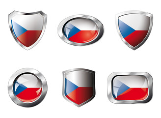 Czech set shiny buttons and shields of flag with metal frame - v
