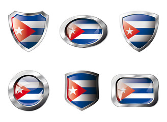 Cuba set shiny buttons and shields of flag with metal frame - ve
