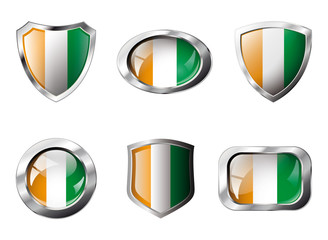 Cote voire set shiny buttons and shields of flag with metal fram
