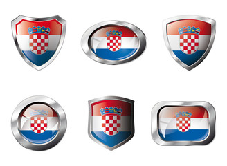 Croatia set shiny buttons and shields of flag with metal frame -