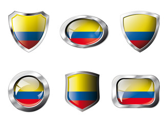 Columbia set shiny buttons and shields of flag with metal frame