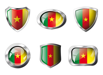 Cameroon set shiny buttons and shields of flag with metal frame
