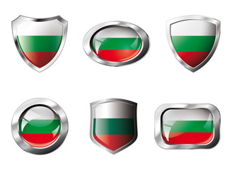Bulgaria set shiny buttons and shields of flag with metal frame