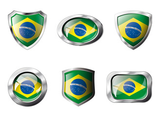 Brazil set shiny buttons and shields of flag with metal frame -