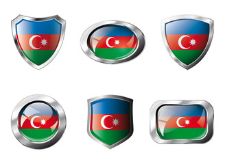 Azerbaijan set shiny buttons and shields of flag with metal fram