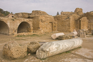 View with ruins of Carthage in Tunisia