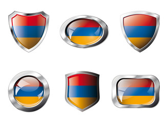 Armenia set shiny buttons and shields of flag with metal frame -
