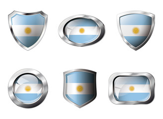 Argentina set shiny buttons and shields of flag with metal frame