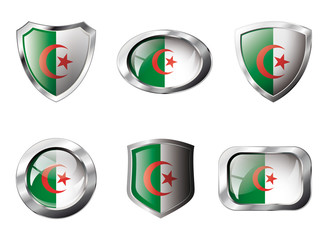 Algeria set shiny buttons and shields of flag with metal frame -