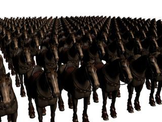 cavalli rendering 3d moltitudine