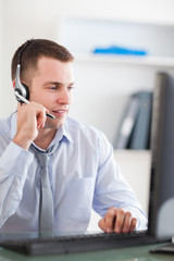 Close up of call center agent speaking with costumer