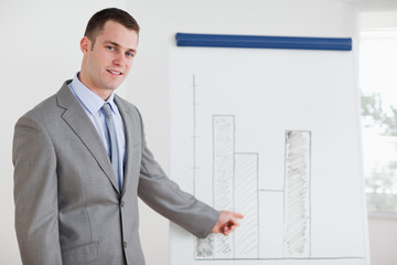 Businessman pointing at diagram
