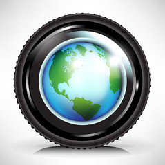 camera lens with earth globe