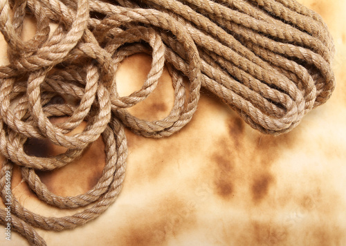 Rope on the old paper background
