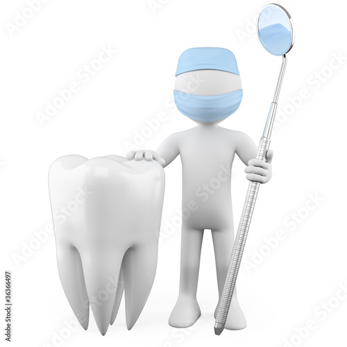 Dentist with a tooth and a mouth mirror
