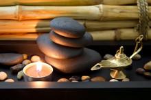 Bien-être orientalisch in braun mit Kerze