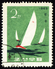 Yachts in a sea on post stamp