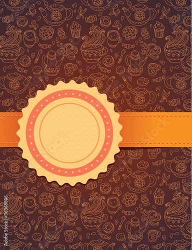 vector tea background with ribbon