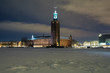 Evening view of the Stockholm City Hall at winter, Sweden