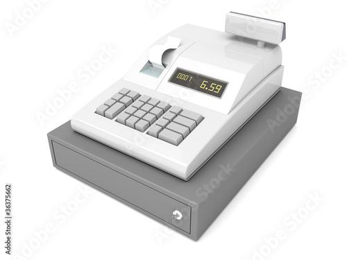 Cash register on white