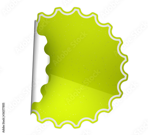 Green spotted sticker or label over white