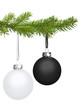schwarze und weiße Weihnachtskugel